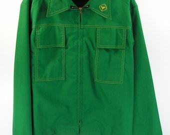 vintage john deere jacket men's L large 44 green wind breaker 1970's farmer trucker