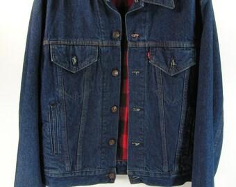 levis denim jacket men's medium 40 M quilted flannel plaid vintage retro 1980's usa