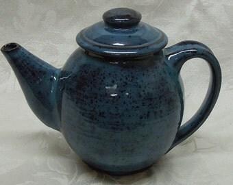 Aqua Blue Stoneware Teapot