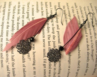 Feather Earrings Medium Dangle Earrings Gift for Her Mom Gift Statement Earrings Pink  Boho Earrings Bohemian Earrings for Her Christmas