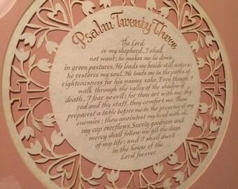 Psalm Twenty Three Cut Paper Matted Framed Art