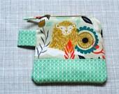 MINT AND GOLD - Lion change purse, chapstick holder, purse organizer, business card holder