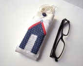 Polka dots eyeglasses case with lanyard and pocket, white vinyl leather glasses holder, spectacles cover, polka dots eyewear case