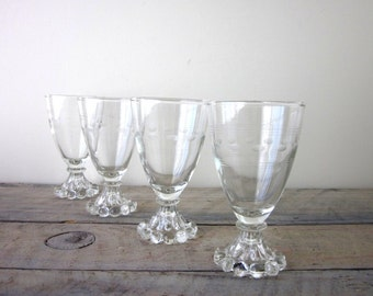 Cocktail Glasses Stemware Etched Boopie Berwick Set of Four