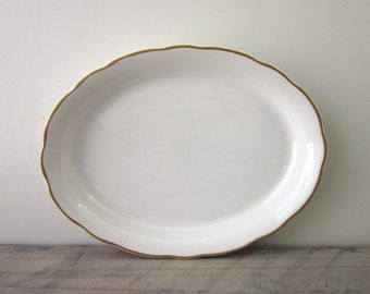 White Buffalo China Platter with Yellow Trim Restaurant Ware