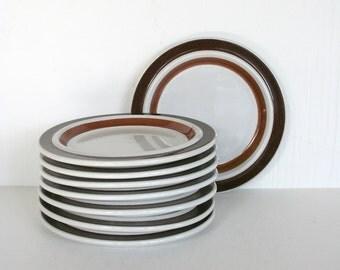 Set of eight Arabia  bread plates in Rosmarin pattern. Ulla Procope, Finland, rustic, robust, simple, modern, brown.