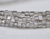 200 beads- Faceted Glass Cube, 2mm Tiny Faceted Crystal Spacer beads, Clear Grey- (#FZ02-09)