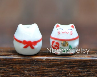 10 beads- Porcelain Lucky Cat beads 15mm, Ceramic Maneki Neko, Drilled with hole, White Red/ Pink Kawaii Cat-(80148)