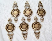 Antiqued brass filigree connector with a 5mm round setting, lot of (6) MC170