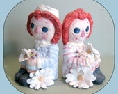 Raggedy Ann and Andy Nursery Décor Child Room Décor Baby Shower Gift Bookends Ceramic Figures Kitsch Retro 1970s Book Ends Kids Room Kitschy