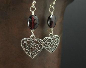 Garnet Earrings, Sterling Silver Heart Earrings, Red Gemstone, Garnet Dangle Earrings, January Birthstone, Valentine Day