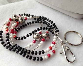 ID Badge Lanyard with silver trims and red, white and black colors
