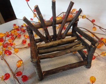 Vintage DOLL Miniature  CHAIR TWIG Wooden Settee Handmade