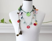 Crocheted Green Pink Red Orange Lariat, Necklace, Scarf, Scarflette