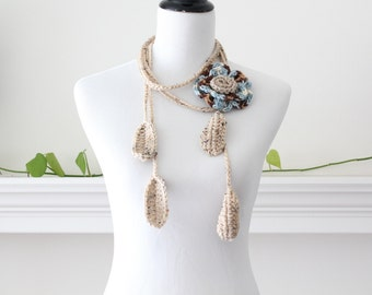 Crocheted Brown, Wheat, Blue Lariat  Scarf, Necklace, Scarflette