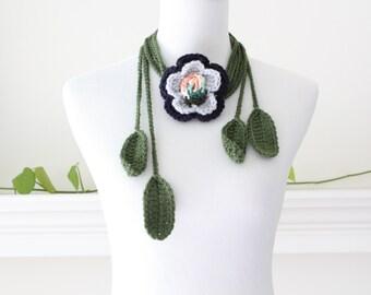 Crochet Navy, Gray, Orange, White Flower Lariat, Necklace, Scarf, Scarflette