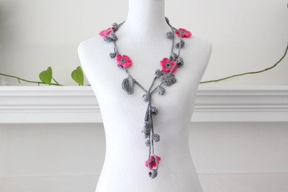 Crocheted Hot Pink Gray Lariat, Necklace, Scarf, Scarflette