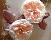Vintage blush or peach blossom hair clip with  velvet leaves. Soft and romantic. Brides, bridesmaid hair accessory. Also in mint.