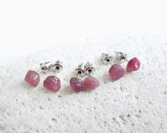 Pink Tourmaline Earrings, Raw Tourmaline Stud Earrings, Birthstone Jewelry, 5th Anniversary Gift, 8th Anniversary Gift
