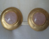 Vintage Gold Tone Large Button Earrings with Rose Quartz Cabochon and Clip Back