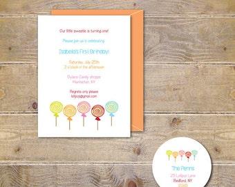 Lollipop Birthday Invitations, Candy Birthday Invitations, First Birthday Invitations, Second Birthday, Candy Party