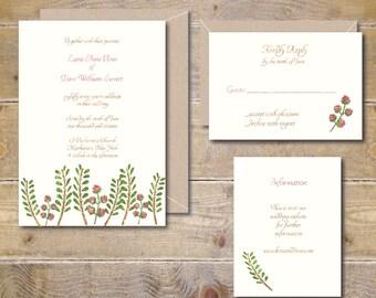 Watercolor Wedding Invitations, Woodland Wedding Invitations, Outdoor Wedding, Watercolor Invitations, Ferns, Roses, Garden Wedding - Ferns