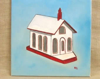 Church Painting, Architectural, Religious Art, Folk Art Church, Wooden House, 12 x 12, Square Painting, Original, Art, Fine Art,Wil Shepherd