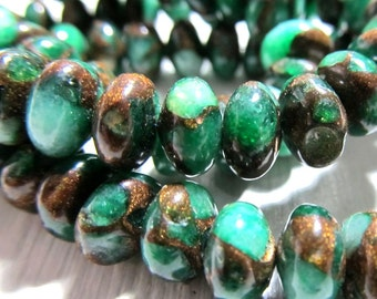 Jasper Beads 8 x 4mm Natural Forest Green Jasper Cloisonne Smooth Rondelles -  16 Pieces
