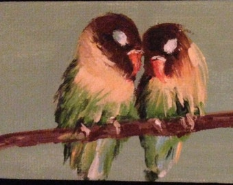 LOVEBIRDS ACEO ORIGINAL acrylic painting