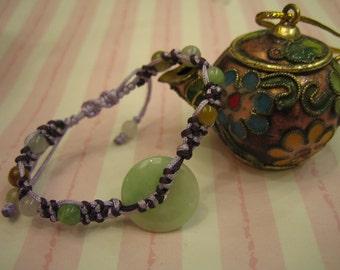 BABY... Natural Jade Bracelet / Anklet .. Handknotting jewelry
