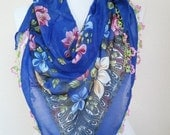 Turkish Scarf , scarf for women , Cotton scarves - Turkish Oya Scarf - triangle scarf