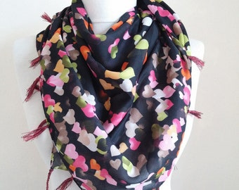 square scarf - turkish scarves - scarf fashion - hearts scarf - scarf accessories - scarf sale