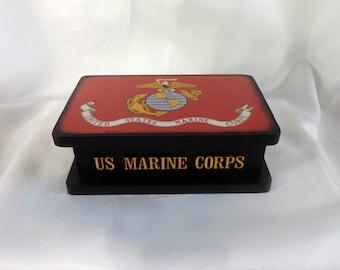 FreeShippingWoodenBoxMarineCorpsFlagMilitaryKeepsakeBox