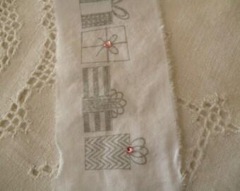 White Hand Stamped Christmas Ribbon Rhinestones and Shabby fabric Trim