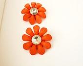 Big Bold 1980s Orange Flower Earrings