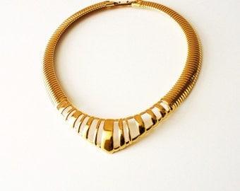 Vintage 1980s Monet Gold Collar Necklace Classic Modernist Choker