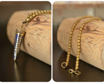 Tibetan Horn/Tusk Lapis with dotted brass inlay pendant on brass bead Necklace