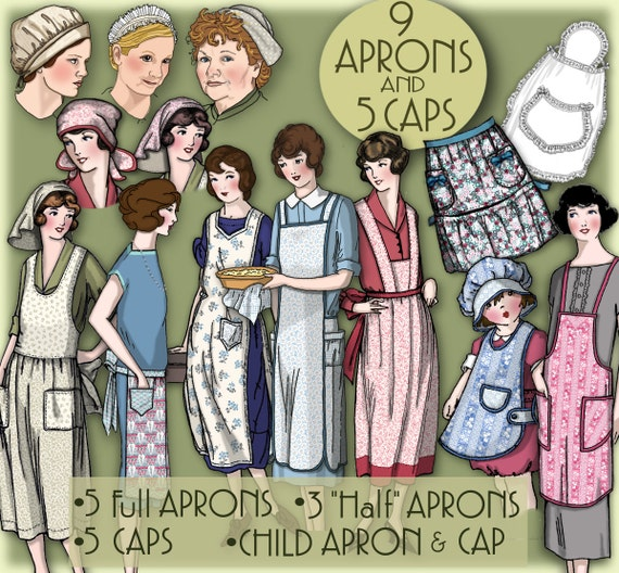 Vintage Aprons, Retro Aprons, Old Fashioned Aprons & Patterns 1920s APRON  & Caps $9.99 AT vintagedancer.com