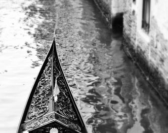 Fine Art Photography, Venice gondola on canal, Italy, black and white, 8x10, other sizes available, blur