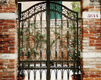 Fine Art photography, wrought iron gate, door, brick wall, creeping ivy, planters, Venice, Italy, 8x12 shown