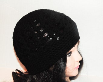 Black Hat, Crochet Beanie Hat in Black, Womans Accessories, Winter Hat, Womans Black Hat, MADE TO ORDER, Beanie, Hat, Black