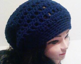 Dreadlocks Hat, Oversized Hat, Slouchy Beanie Hat, Super Slouchy Beanie, Large Navy Blue  Hat, Baggy Hat