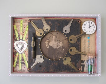 Mixed media assemblage, found object, recycled frankenjunk, creepy home decor