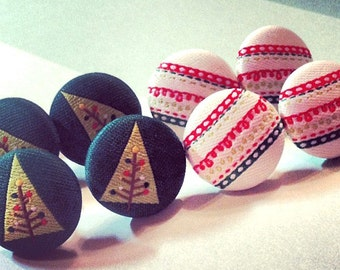 Christmas Cheer Button Earrings