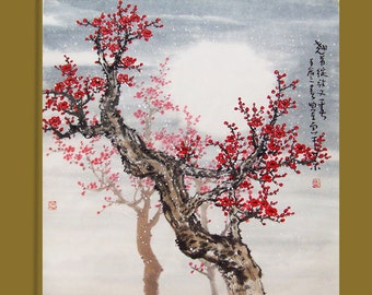 Original painting chinese art oriental art -Lovely cherry blossom tree No.43