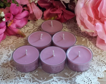 Black Cherry  Tea Lights, 6 pack soy hand poured