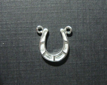 Artsy 925 Sterling Silver Double Bail Horseshoe Pendant Charm, Link Connector, 12x10mm - PC-0024