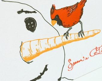 SALE - Frosty Christmas Holiday Letterpress Card - Frosty Cardinal - 60% off