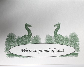 Giraffe congratulations greeting card