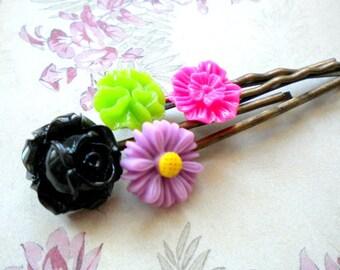 Bobby Pin Flower Children Hair Accessories Flower Girl Gift Flower Hair Pin Flower Bobby Pin Colorful Hair Pin Gift Set For Girls Resin